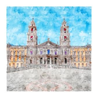 건축 포르투갈 수채화 스케치 손으로 그린 그림