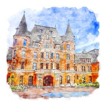 建築学校タコマワシントン水彩スケッチ手描きイラスト