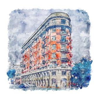 건축 상하이 중국 수채화 스케치 손으로 그린 그림
