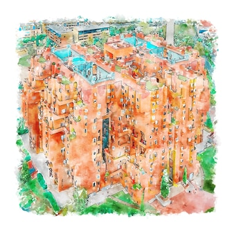 건축 스페인 수채화 스케치 손으로 그린 그림