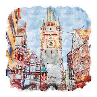 건축 타워 독일 수채화 스케치 손으로 그린 그림