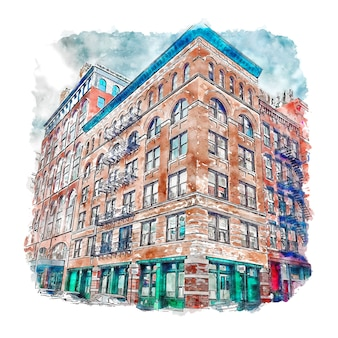 Architecture tribeca new york city watercolor sketch hand drawn illustration
