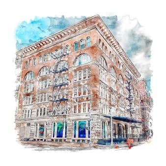 건축 tribeca 뉴욕시 수채화 스케치 손으로 그린 그림