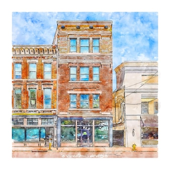 Architecture united states watercolor sketch hand drawn illustration