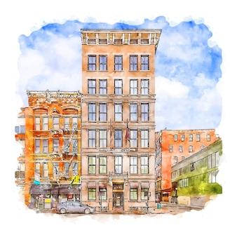 건축 미국 수채화 스케치 손으로 그린 그림