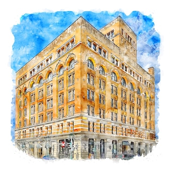 建築アメリカ合衆国水彩スケッチ手描きイラスト