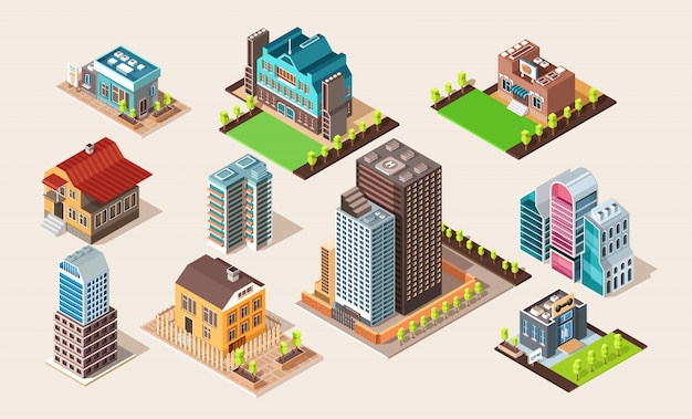 アーキテクチャのベクトル図です。等尺性の異なる建物を設定します。通りおよび都市の要素。