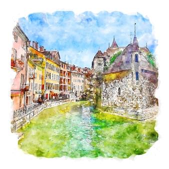건축 마을 프랑스 수채화 스케치 손으로 그린 그림