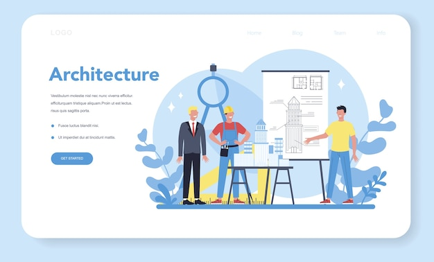 Architecture web banner or landing page. idea of building project and construction work. scheme of house, engineer industry. construction company business.