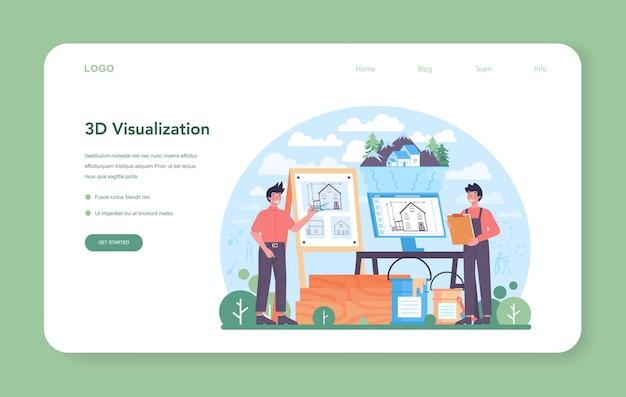 Архитектура веб-баннера или целевой страницы. идея строительного проекта