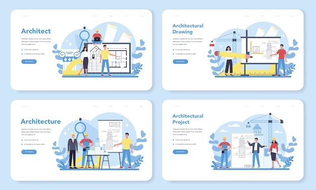 아키텍처 웹 배너 또는 방문 페이지 세트. 건축 프로젝트 및 건설 작업에 대한 아이디어. 집, 엔지니어 산업의 계획. 건설 회사 사업.