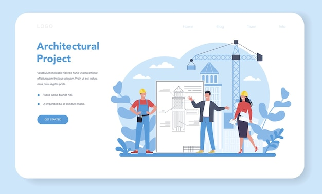 아키텍처 웹 배너 또는 방문 페이지.