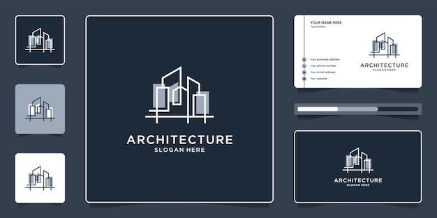 Architecture with line concept logo design and business card