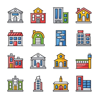 Architectures flat icons set