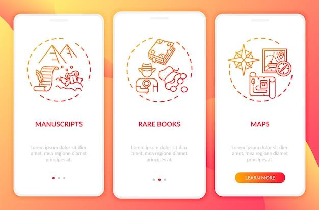 개념이있는 컬렉션 온 보딩 모바일 앱 페이지 화면을 보관합니다. 희귀 도서, 원고 및지도를 3 단계로 안내합니다. rgb 색상 일러스트레이션이있는 ui 템플릿