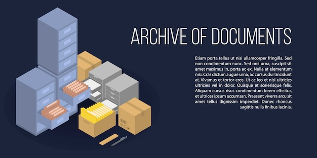 Archive of documents concept banner, isometric style