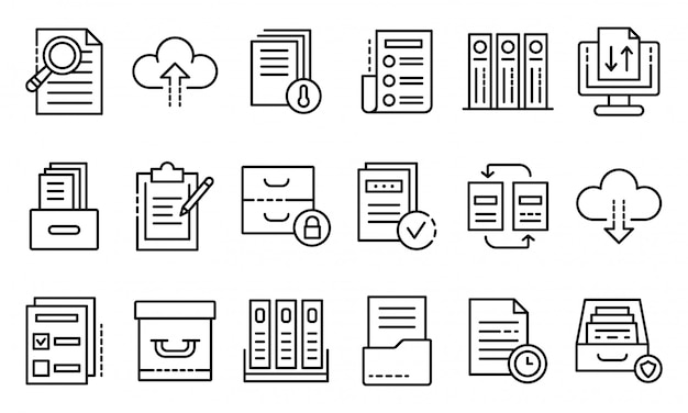 Archive icons set, outline style