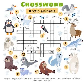 Arctic animals crossword. for preschool kids activity worksheet.