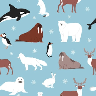 Arctic animals seamless pattern.