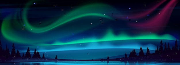 Arctic aurora borealis over night lake in starry sky polar lights natural landscape northern amazing iridescent glowing wavy illumination shining above water surface cartoon illustration