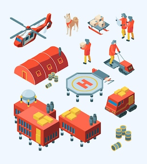 Arctic explorer. meteorology polar expedition north pole tourism ship transport specific buildings vector isometric set. arctic expedition, antarctic transport and meteorological station illustration