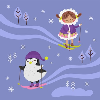 Arctic fantasy winter girl penguin bird child comic funny animal flat design cartoon hand drawn vector illustration for print