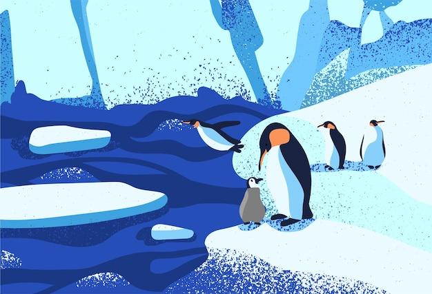 북극 얼음 풍경 평면 벡터 일러스트 레이 션. 빙원에 서 있는 펭귄 가족. 녹는 빙하. 빙산, 눈 산 언덕, 겨울 자연의 아름다움. 남극 주민 만화 캐릭터.