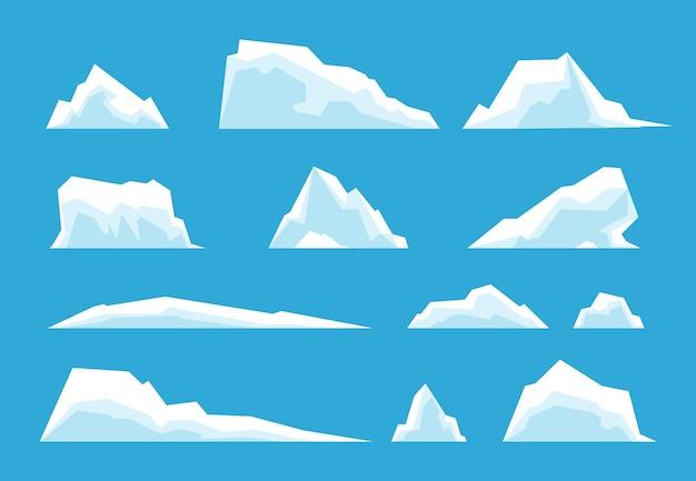 북극 빙산. 북극 여행, 얼음 바위 빙하 산 겨울 풍경 요소. 눈 녹는 남극 버그 벡터 집합입니다. 바다의 얼음 바위 산, 추운 남극 기후 그림