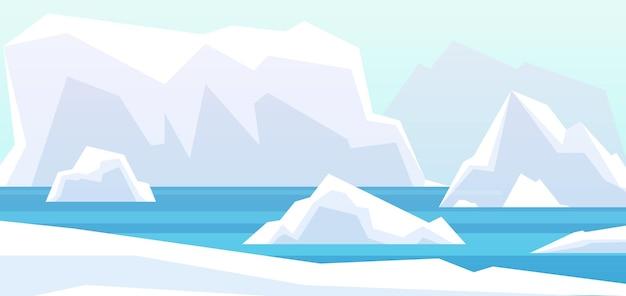 북극 풍경입니다. 아름다움 북극, 물에 빙하 빙산. 겨울 북극 산 바위, 바다 벡터 배경에서 남극 녹는 버그. 그림 북극 물 바다, 풍경 북쪽