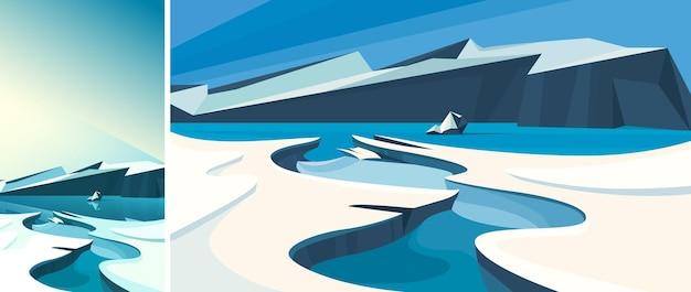 얼어붙은 물이 있는 북극 풍경. 수직 및 수평 방향의 자연 경관.