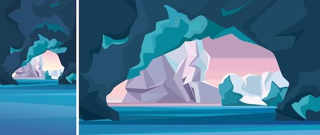 얼음 동굴이 있는 북극 풍경. 수직 및 수평 방향의 자연 경관.