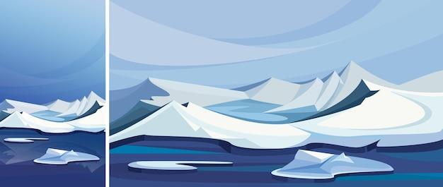 얼음 산과 북극 풍경입니다. 수직 및 수평 방향의 자연 경관.