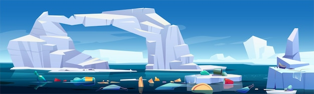 Arctic landscape with melting iceberg and plastic garbage floating in sea