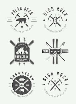 Arctic mountaineering logo set