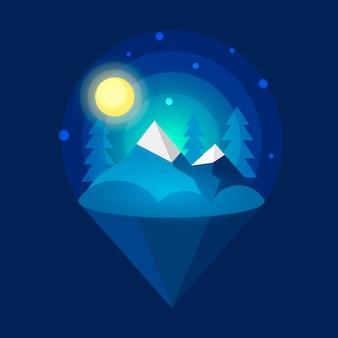 Arctic northern lights . nature background. vector illustration on dark background