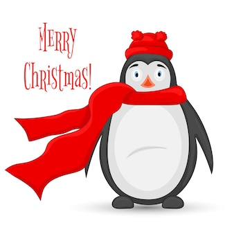 Арктический пингвин в шапке деда мороза и шарфе. открытка на новый год и рождество. изолированные объекты на белом фоне. шаблон для текста и поздравлений.