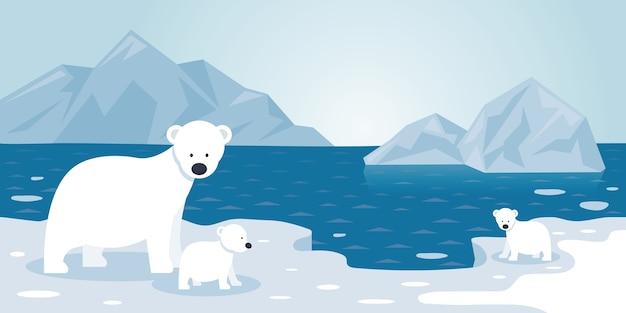 Сцена айсберга полярного белого медведя