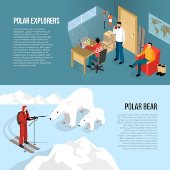 Arctic polar exploration isometric banners