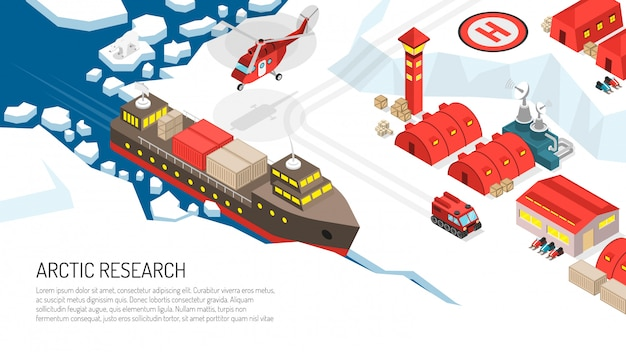 Arctic research polar station illustration