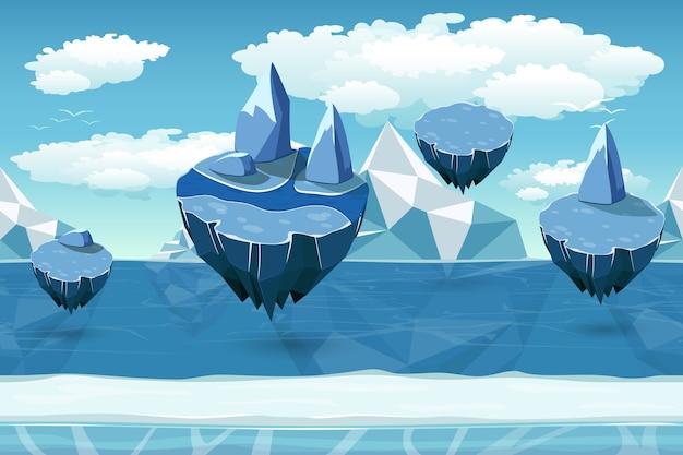 北極のシームレスな漫画の風景、氷山と雪の島と無限のパターン。飛んでいる島の風景、冬の自然ゲーム、クールなインターフェースゲーム、パノラマシームレスゲーム。ベクトルイラスト