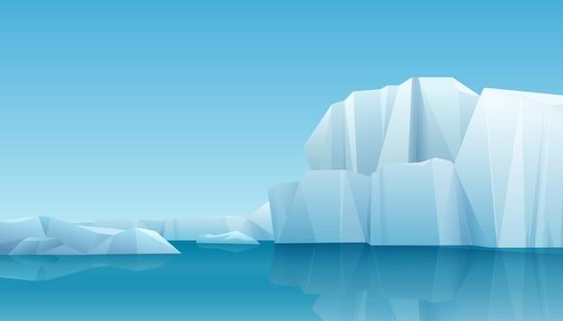 Арктический зимний пейзаж панорамы с айсбергом и ледяными горами. холодный климат зимний фон