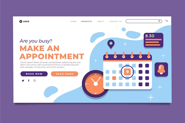 Are you busy make an appointment landing page