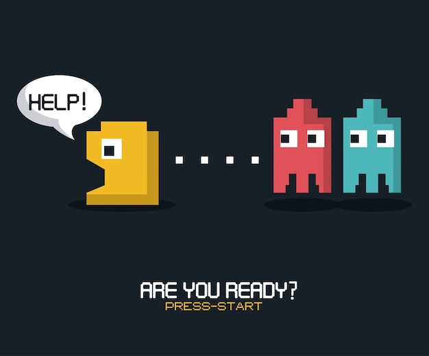 Are you ready press start with graphics of pacman game
