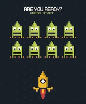 あなたは黄色のロケットを使った空間ゲームを開始する準備ができていますか?