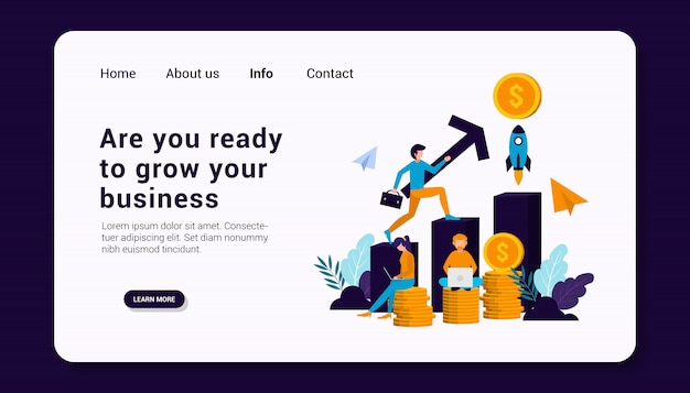 Вы готовы вырастить свой бизнес шаблон целевой страницы с концепцией бизнес-группы людей, плоский дизайн.