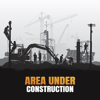 Area under construction background Premium Vector