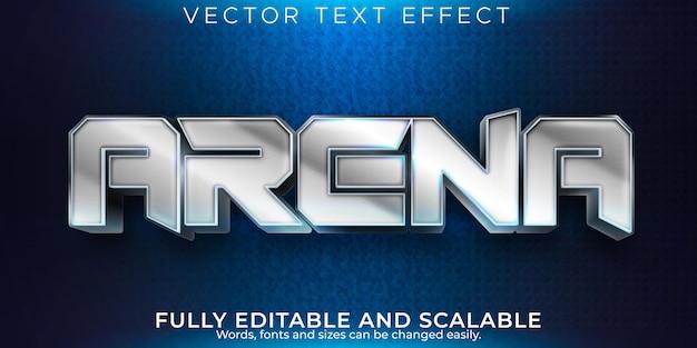 Металлический текстовый эффект арены, редактируемый стиль текста воина и меча
