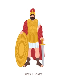 Ares or mars - olympian god or deity of war in greek and roman religion and mythology. male character wearing armor and helmet isolated on white background. flat cartoon colorful vector illustration.
