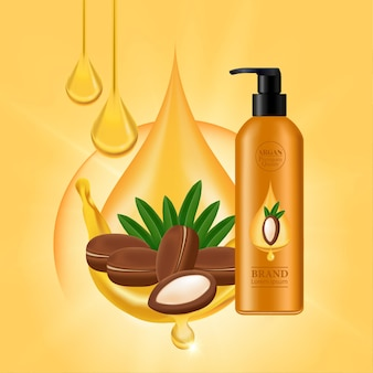 Argan extract for hair product vector illustration