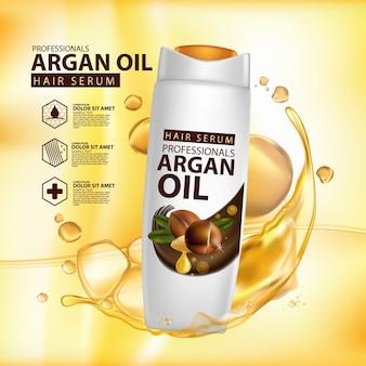 Шаблон дизайна упаковки шампуня для ухода за волосами с аргановым маслом